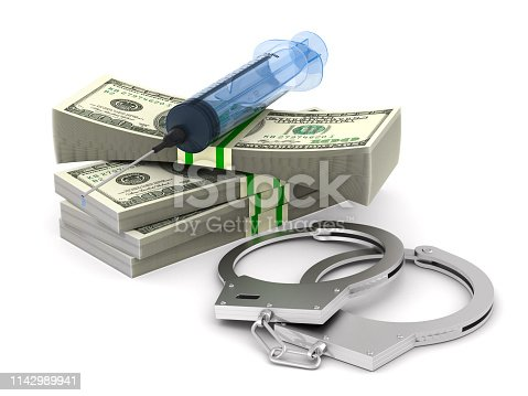 money and syringe and handcuffs on white background. Isolated 3D illustration