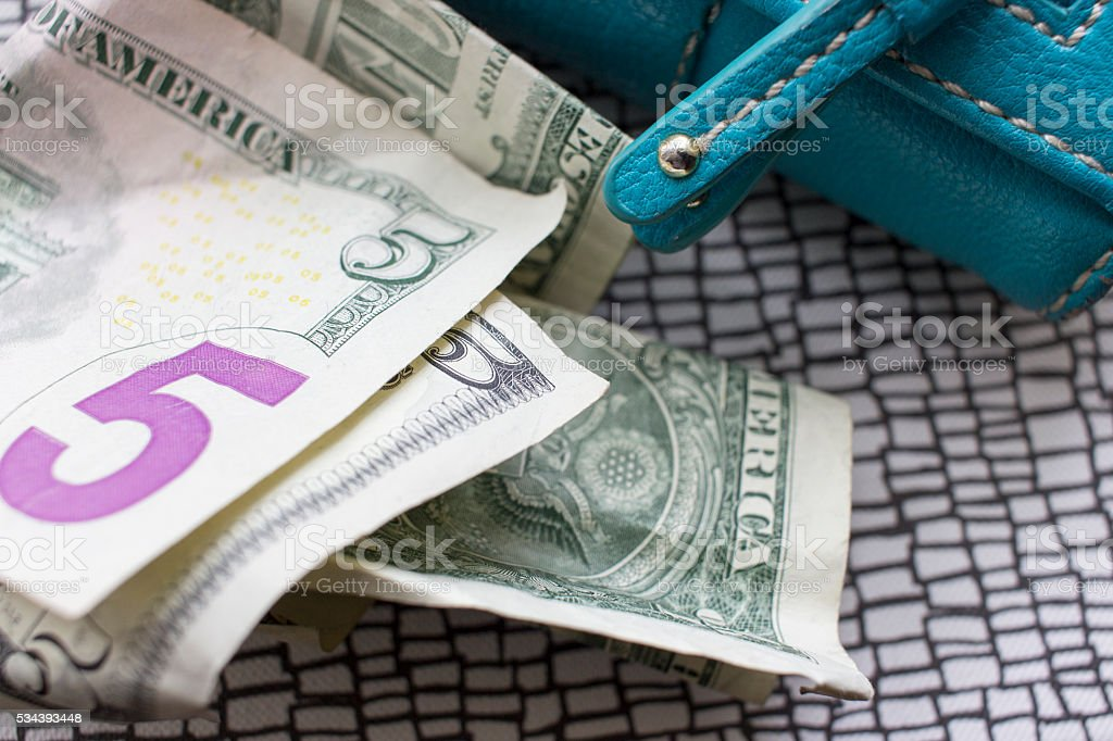 US money and wallet close up stock photo
