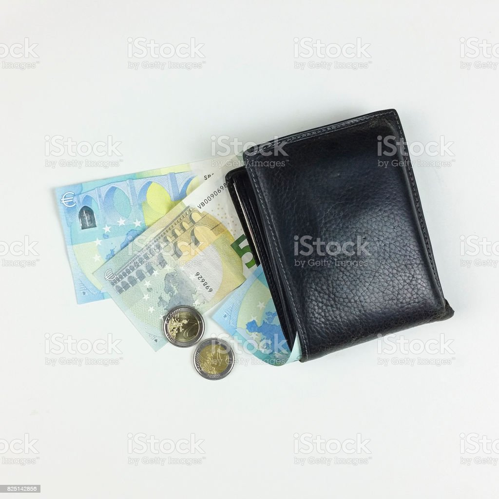 money and wallet on white background - top view stock photo