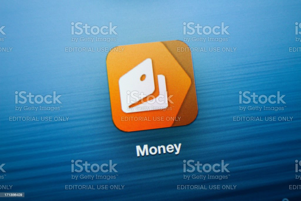 Money App icon on New iPad royalty-free stock photo