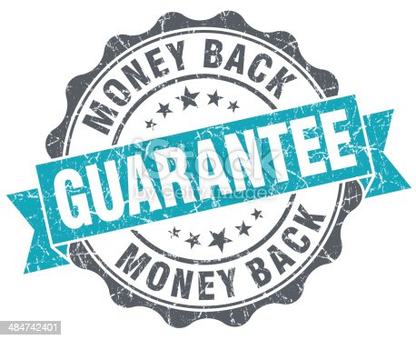 istock Money back guarantee blue grunge retro style isolated seal 484742401