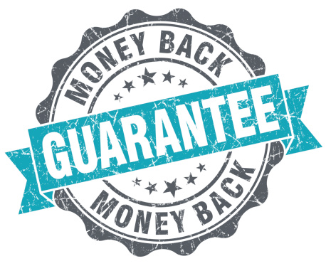 istock Money back guarantee blue grunge retro style isolated seal 484742401