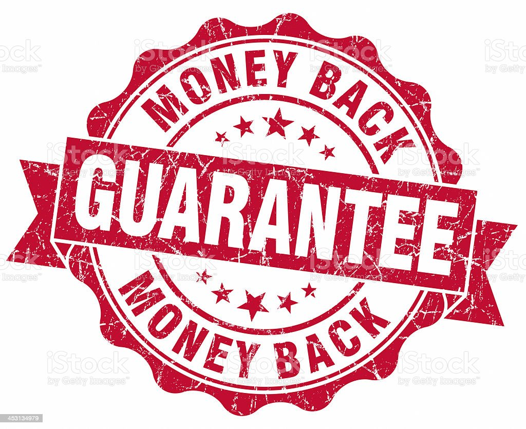 Money Back Guarantee red seal stock photo