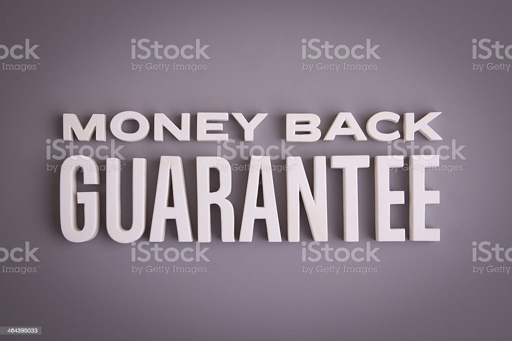 Money Back Guarantee sign lettering royalty-free stock photo