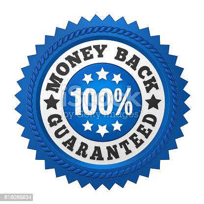 istock Money Back Guaranteed Label Isolated 816086634