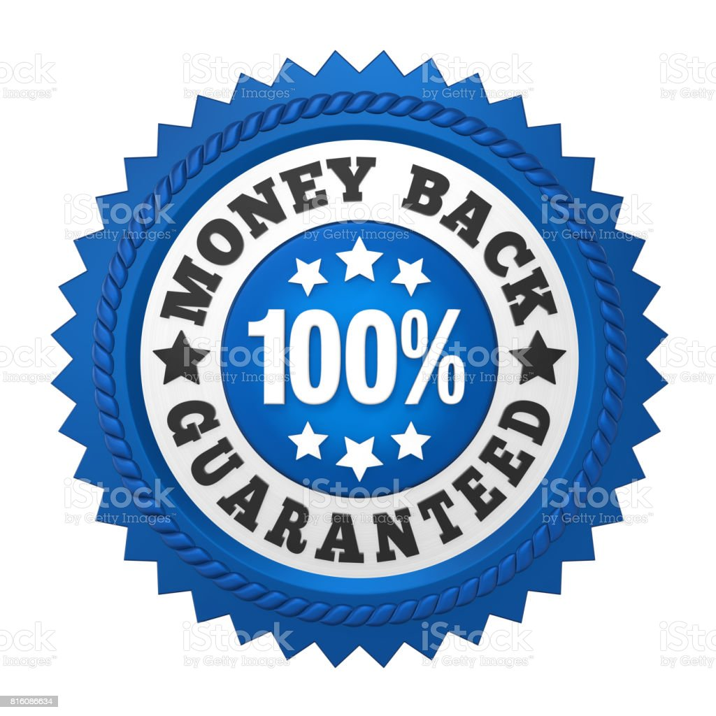 Money Back Guaranteed Label Isolated - foto stock