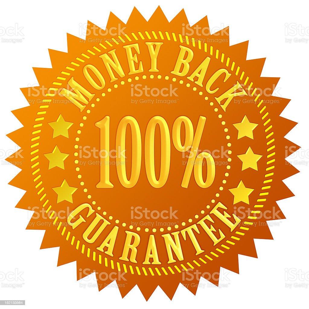 Money back seal stock photo