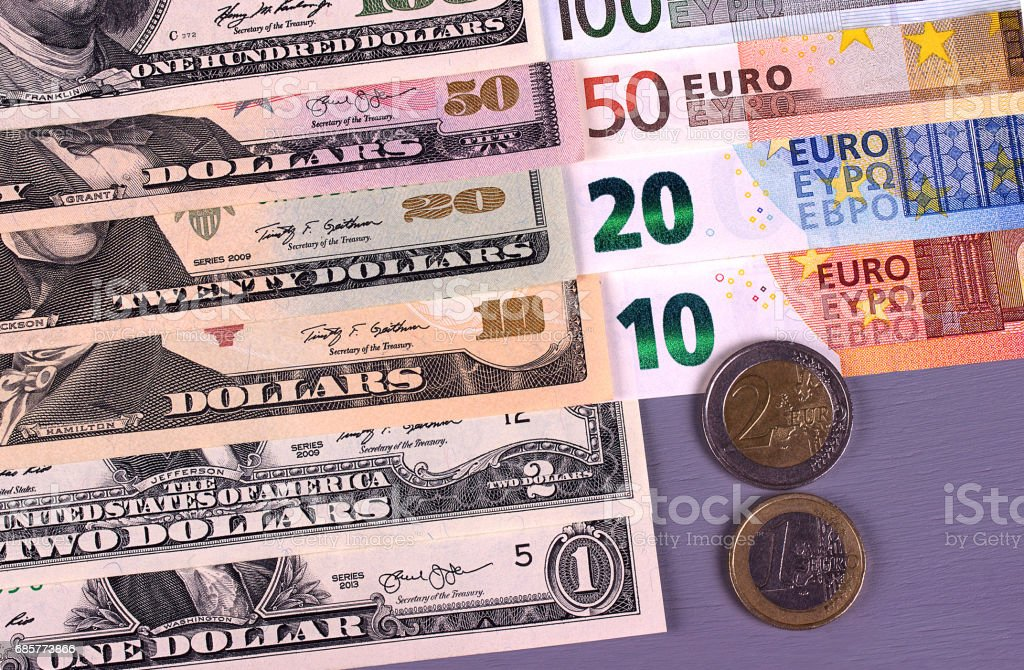Money background american dollars and euro different denominations. royalty-free stock photo