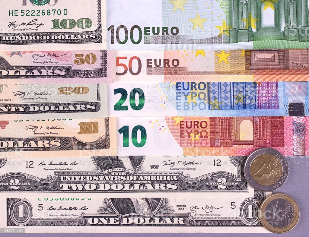 Money Background American Dollars And Euro Different Denominations Royalty Free Stock Photo