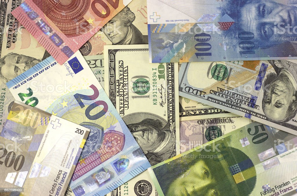 Money background american dollars, euro and swiss franc. stock photo