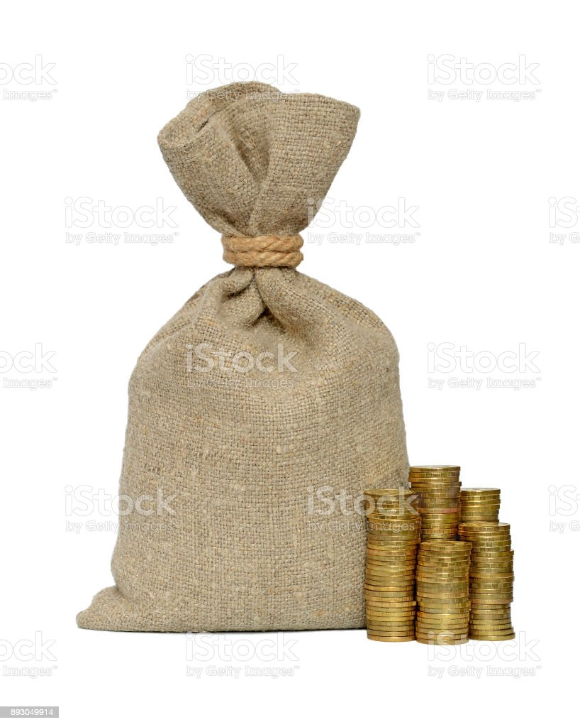 Money bag and coins stock photo
