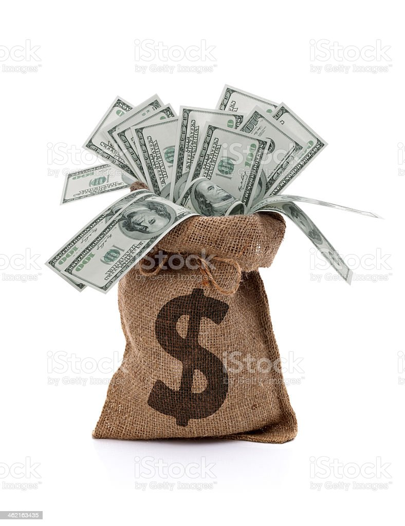 A money bag full of paper notes stock photo