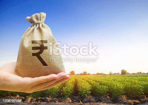 istock Money bag on the background of agricultural crops in the hand of the farmer. Agricultural startups. Profit from agribusiness. Lending and subsidizing farmers. Rupee, rupiah. Grants and support. 1208792258