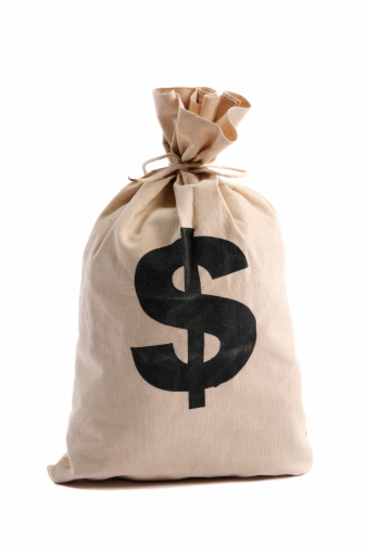 Money bag with dollar sign on a white background