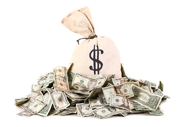 money bag - haufen stock-fotos und bilder
