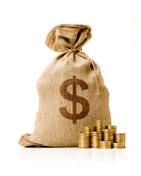 Money Bag Money Bag with Golden Coins. miserly stock pictures, royalty-free photos & images