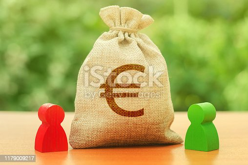 Money bag with Euro money symbol and two people figures. Business Investment and lending, leasing. Dispute solution between two businessmen Opponents. division of property. Business relationship.