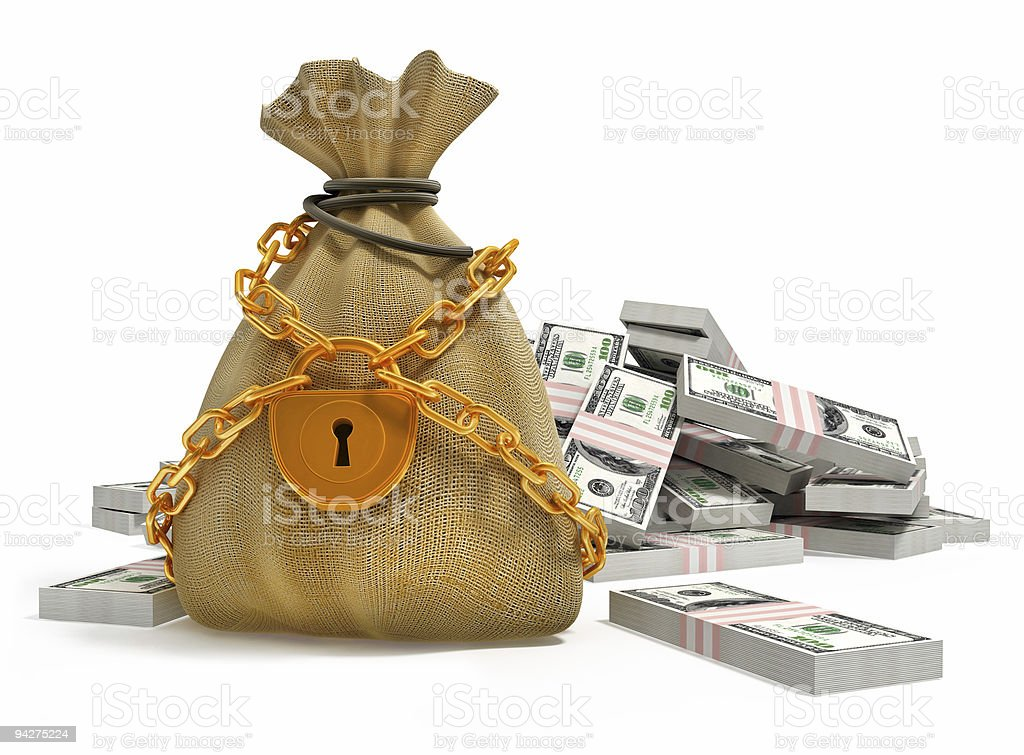 money bag with gold lock and dollar packs royalty-free stock photo