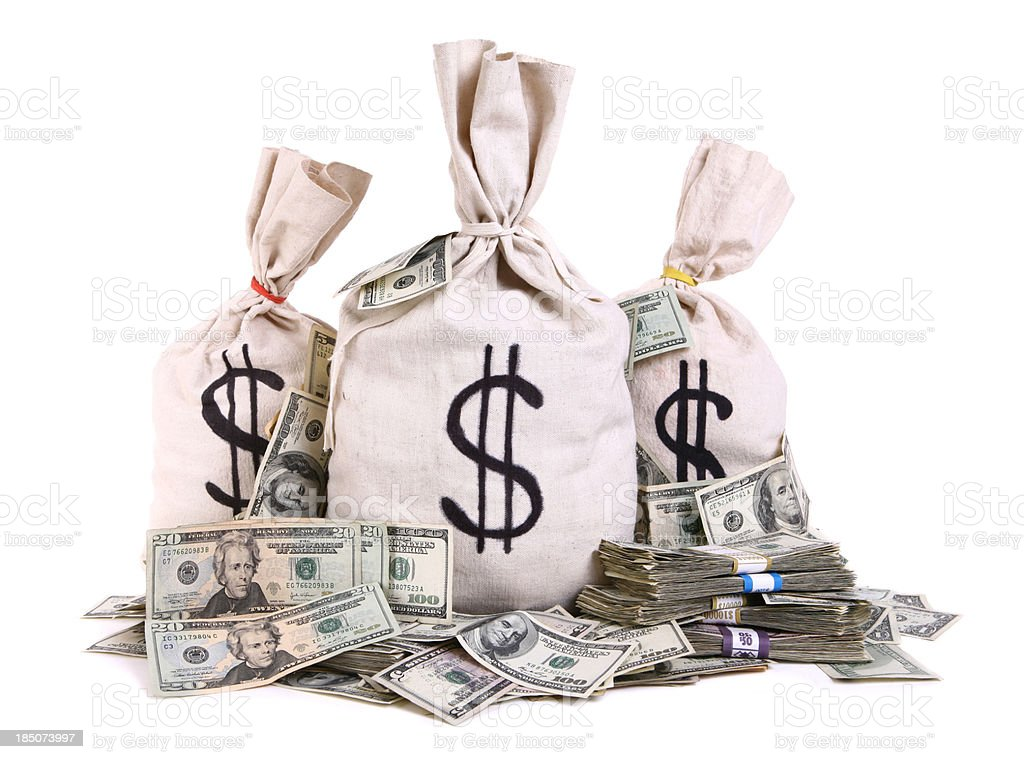 Money Bag with Loose Cash stock photo