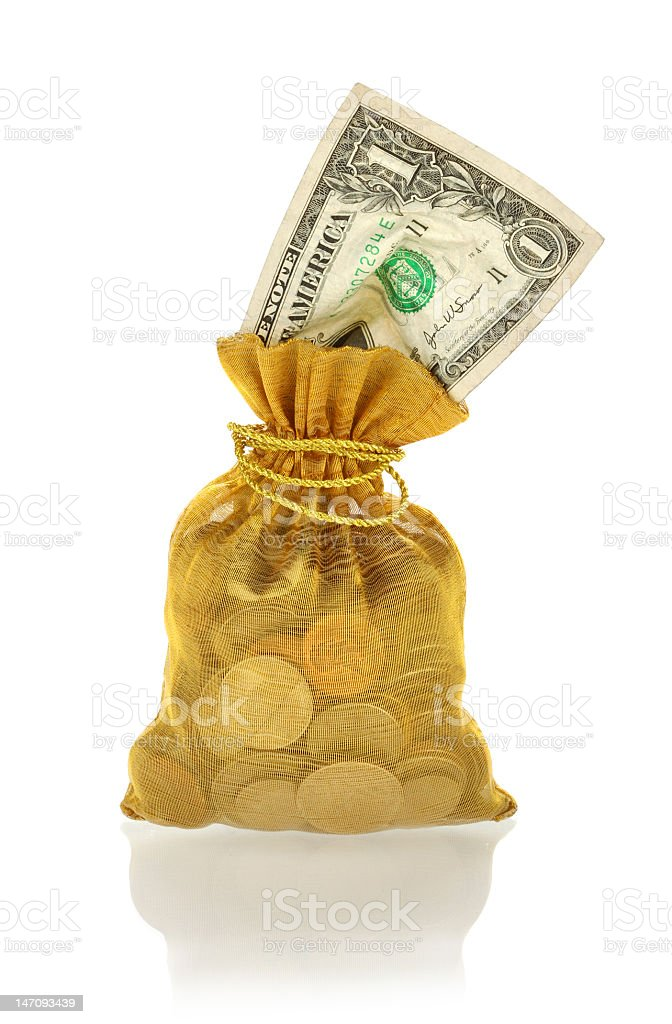 Money Bag with One Dollar royalty-free stock photo