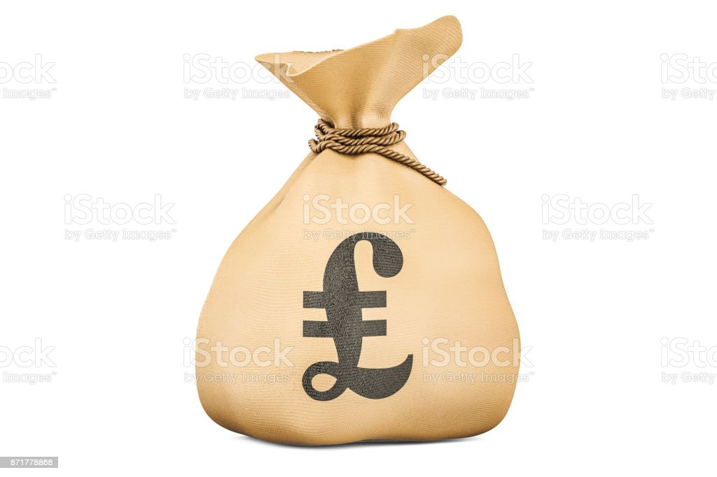 Money bag with pound sterling, 3D rendering isolated on white background stock photo
