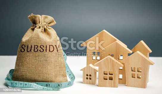 istock Money bag with the word Subsidy and wooden houses. Financial aid, support to the population. Cash grants, interest-free loans. Tax breaks, insurance, low-interest loans. Small minimal subsidy 1094418290