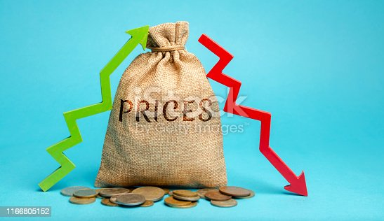 istock Money bag with up and down arrows. A sharp change in prices. Destabilization of stock markets. Speculation, speculators. Monopolization of the market and interruptions in the supply of goods, services 1166805152