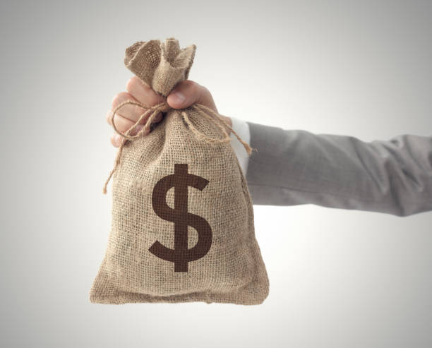 Money bag with US dollar sign business man holding stock photo