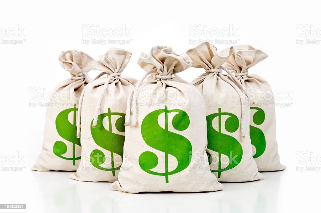 US Money bags with green $ symbol royalty-free stock photo