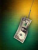 Dollar bill hanging from a hook. Digital illustration.