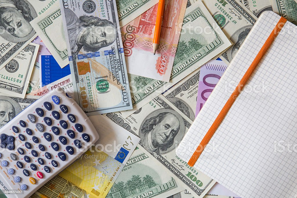 money; banking; business; dollar; euro; ruble; trader, stock stock photo