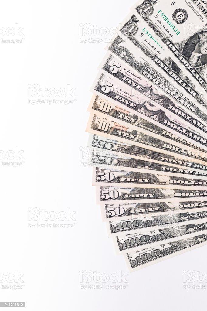 USA money banknotes on white background. stock photo
