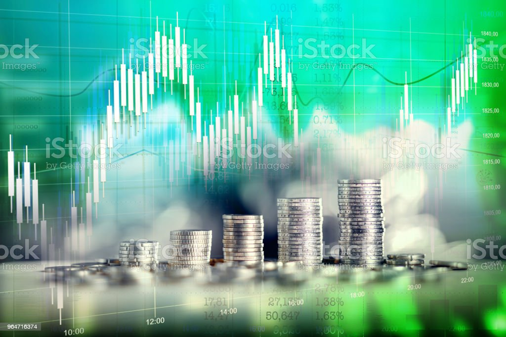 Money bars as financial growth. Charts, calculations, stock quotes. Double exposure. royalty-free stock photo