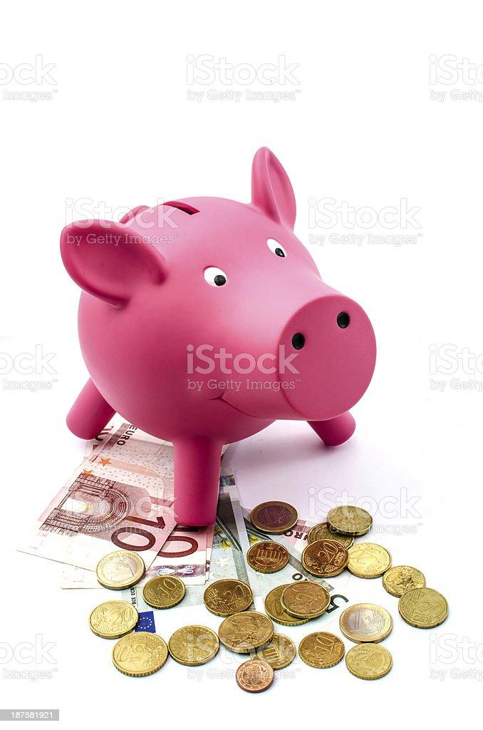 Money box with Euros royalty-free stock photo