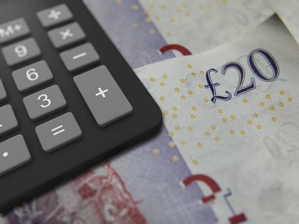 Britisches Geld Britische Pfund Kreditfinanzierung Steuerrechner – Foto