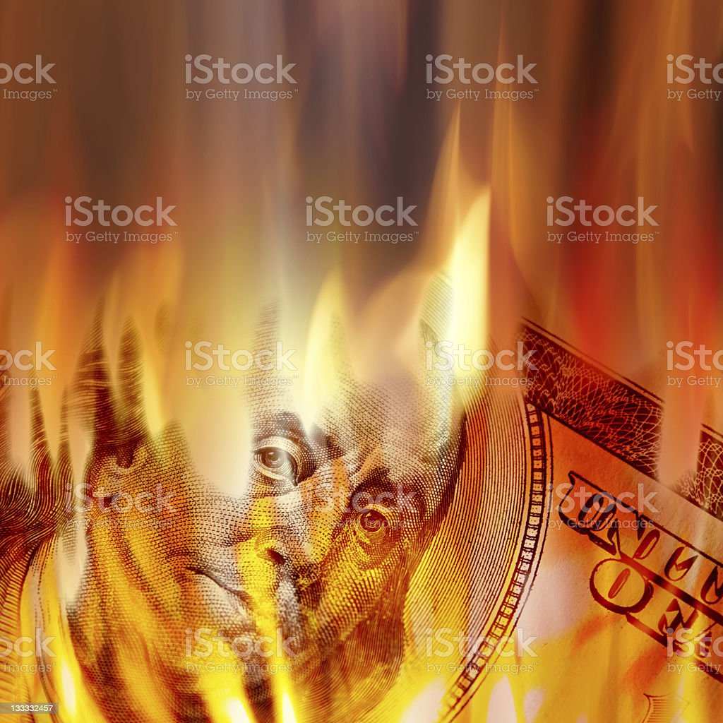 Money Burning in Flames stock photo