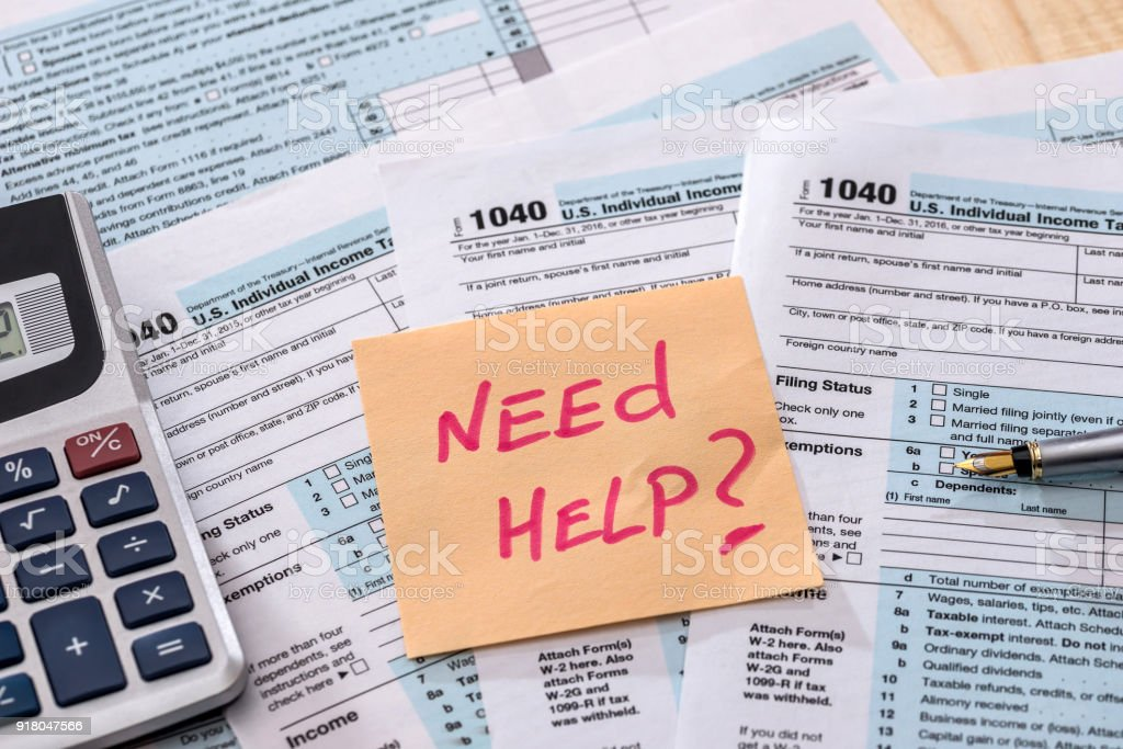 money calculation Form 1040 tax return royalty-free stock photo