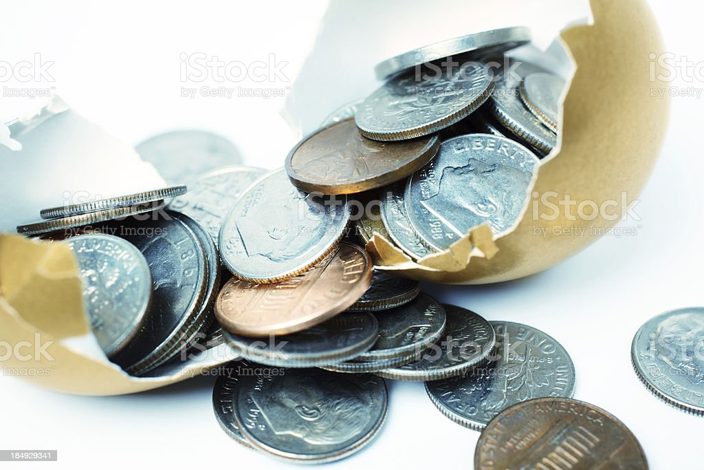 Money Came Out from a Gold Egg royalty-free stock photo