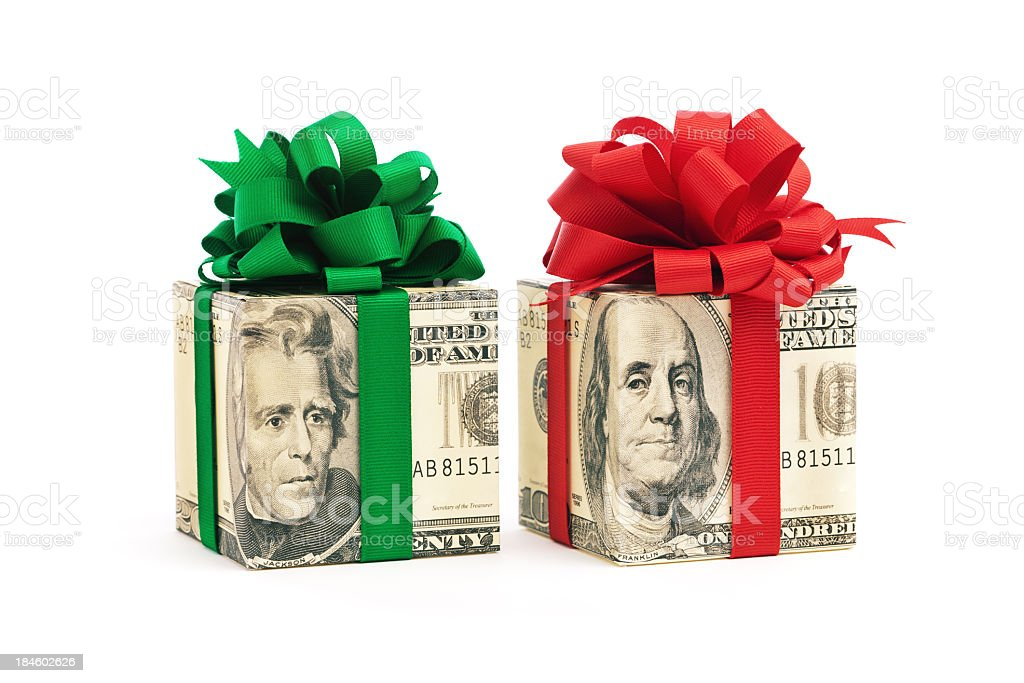 Money Christmas Gift Presents Cut Out Isolated on White Background stock photo