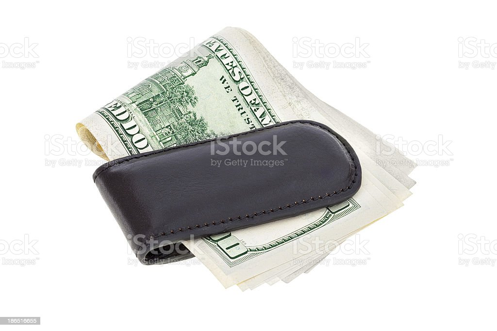 Money clip with dollar bills royalty-free stock photo