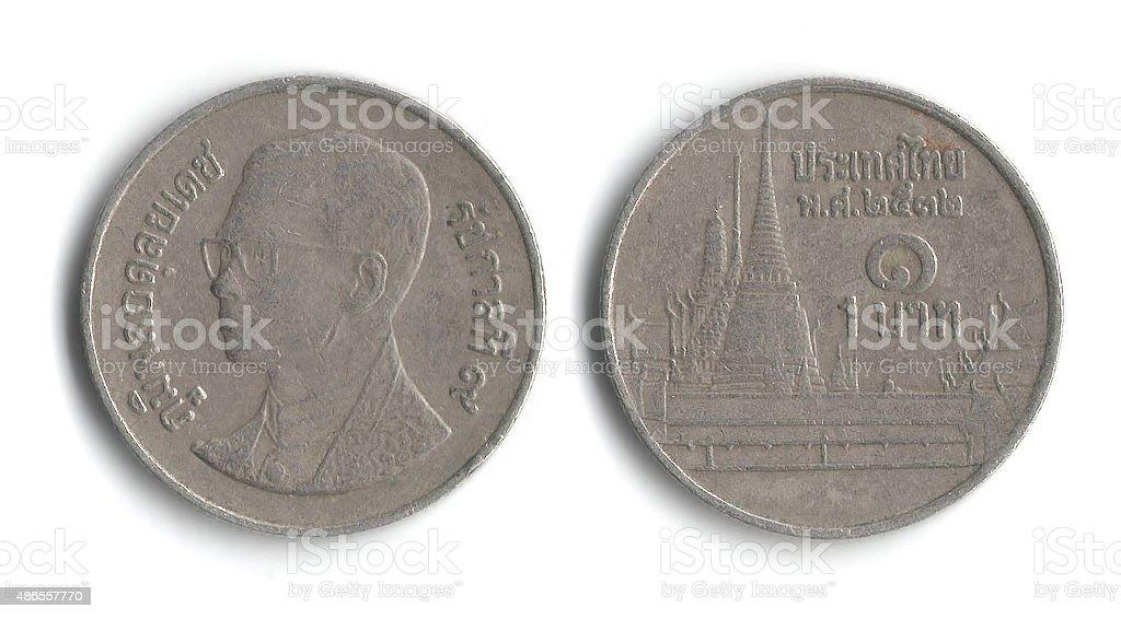 Money coin - 1 Thai baht, year 1989 stock photo