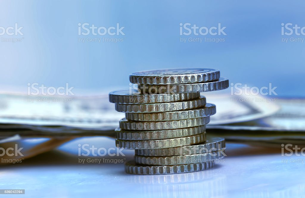 Money coin stack. Finance and Money concept royalty-free stock photo