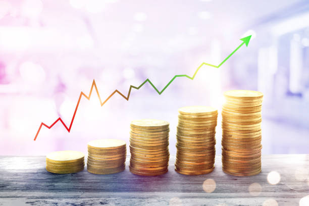 money coin stack growing business.chart finance and Investment concept. money coin stack growing business.chart finance and Investment concept. wages stock pictures, royalty-free photos & images