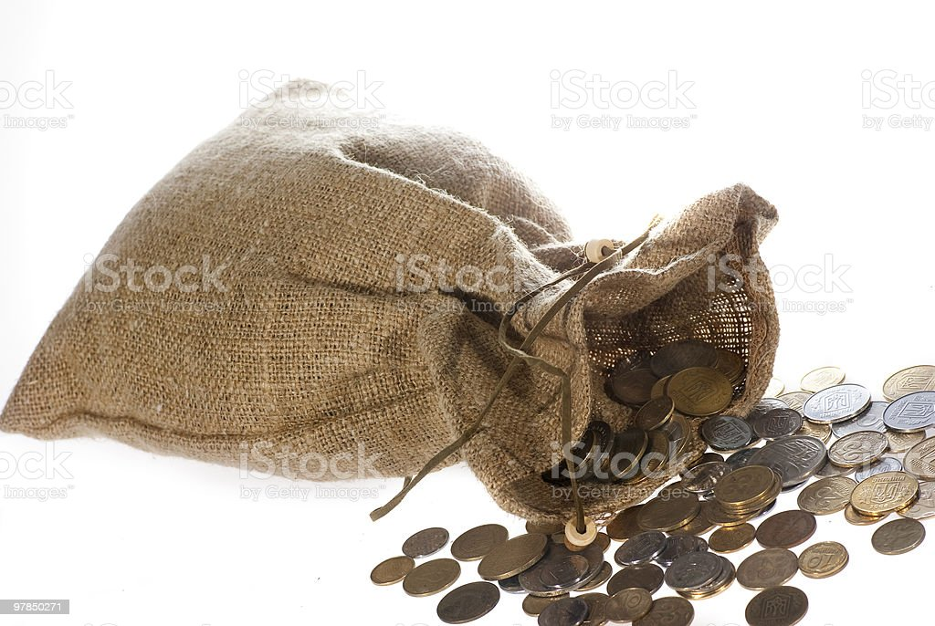 money coins in bag royalty-free stock photo