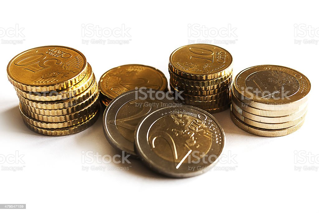 Money coins - one and two euro and cent stock photo