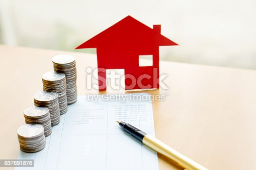 istock money, coins stack in columns with saving book and home 637691876