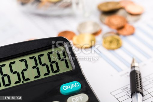 467271788 istock photo Money coins with graph paper and calculator 1176151203