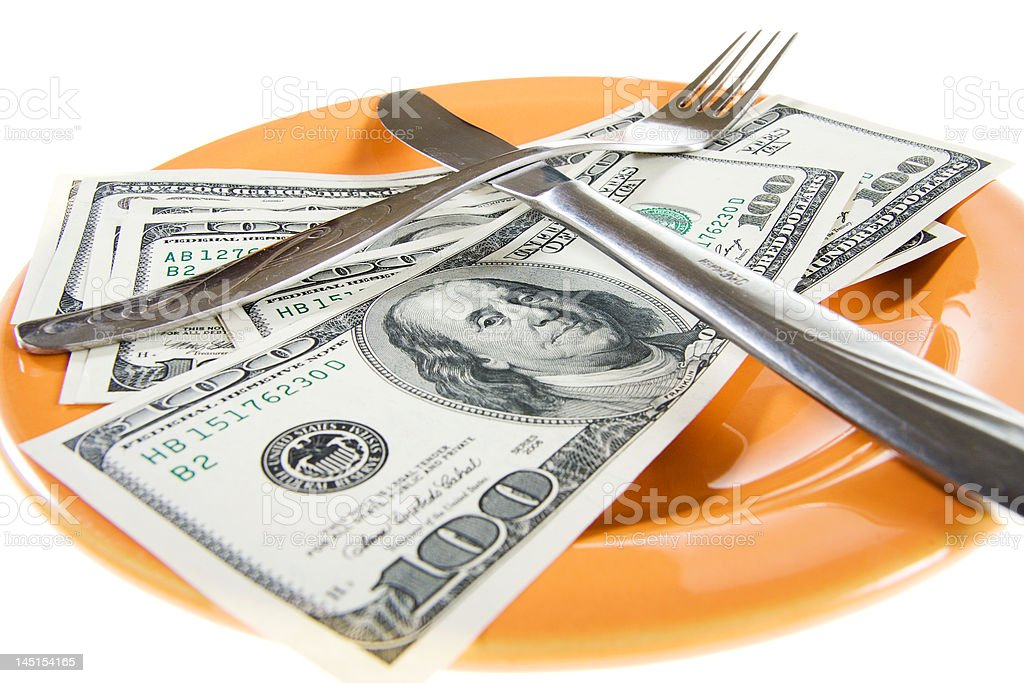 Money concept :Meal of the businessman royalty-free stock photo
