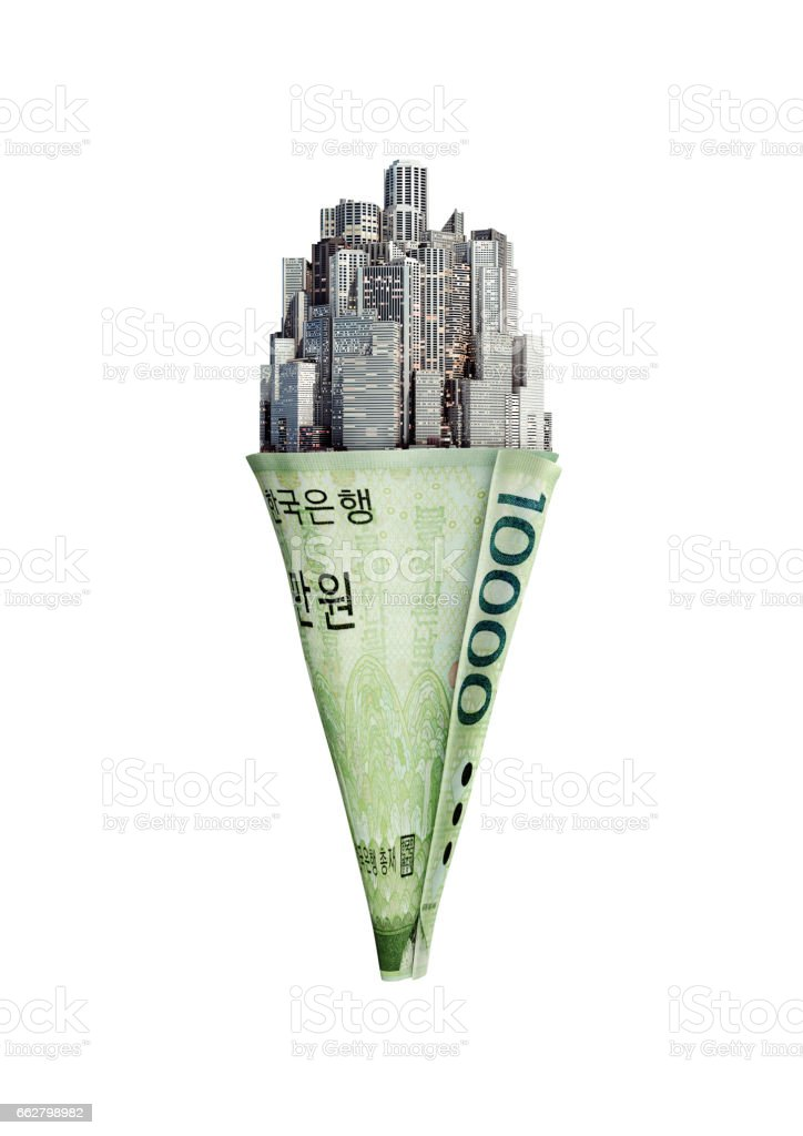 Money cone South Korean won stock photo