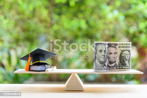 istock Money cost saving for goal and success in school, education concept : US USD dollar notes or cash, graduation cap, a text book, a certificate / diploma on basic wooden balance scale. Green background. 1025444618